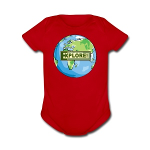 EXPLORE! Logo on the Earth - Short Sleeve Baby Bodysuit