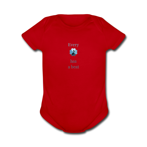 every heart has a beat - Organic Short Sleeve Baby Bodysuit