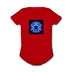 Blue Neon Tiger - Short Sleeve Baby Bodysuit