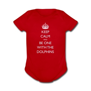 Keep Calm and Be One With The Dolphins Tshirts - Short Sleeve Baby Bodysuit