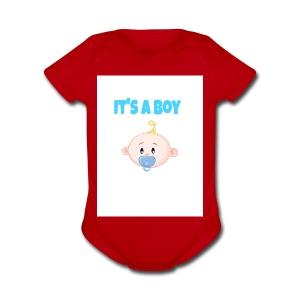 It-s_a_boy_tshirt - Short Sleeve Baby Bodysuit