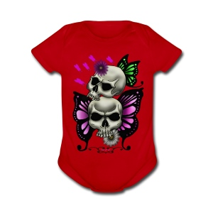 SKULLS WITH BUTTERFLIES AND DAISIES - Short Sleeve Baby Bodysuit