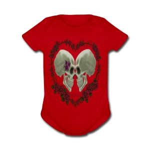 LOVE SKULLS ROSES - Short Sleeve Baby Bodysuit