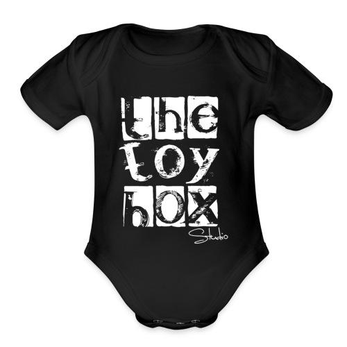 The Toy box Studio - White Logo - Organic Short Sleeve Baby Bodysuit