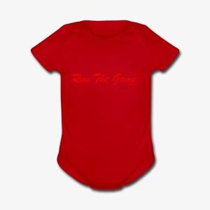 Run The Game Original Long Logo Design - Short Sleeve Baby Bodysuit