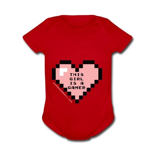 summergamertv t shirt pink black 01 - Organic Short Sleeve Baby Bodysuit