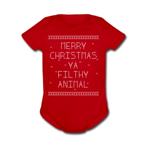 Merry Christmas Filthy Animals - Short Sleeve Baby Bodysuit