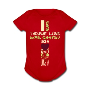 love is shaped like this - Short Sleeve Baby Bodysuit