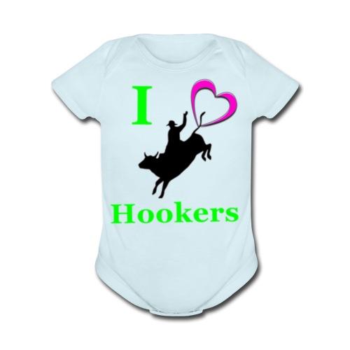 I_Love_Hookers2 - Organic Short Sleeve Baby Bodysuit