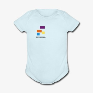 White with Colorful Shapes Abstract Logo 2 - Short Sleeve Baby Bodysuit