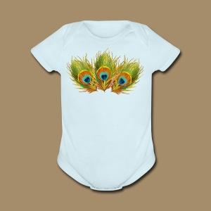Peacock Feathers - Short Sleeve Baby Bodysuit