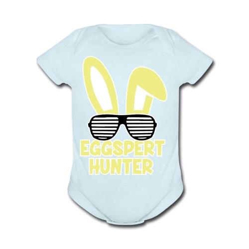 Eggspert Hunter Easter Bunny with Sunglasses - Organic Short Sleeve Baby Bodysuit