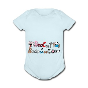 Boo Cat And Bedroom Cow - Short Sleeve Baby Bodysuit