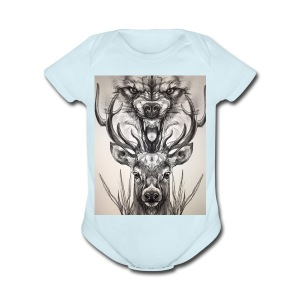 Black Ink Deer And Wolf Head - Short Sleeve Baby Bodysuit