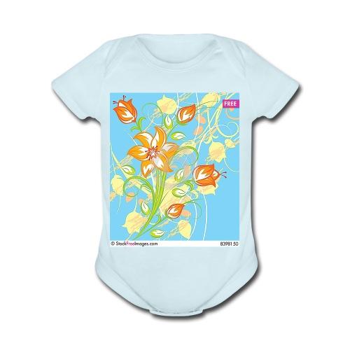 flowers67 - Organic Short Sleeve Baby Bodysuit