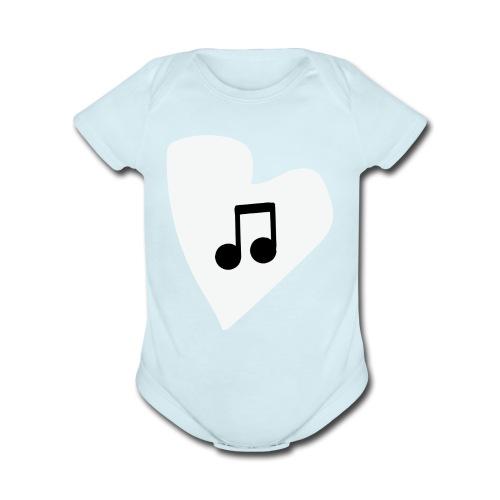 musical feeling WHITE - Organic Short Sleeve Baby Bodysuit