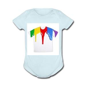 tshirt printing for kids paint design 100683 - Short Sleeve Baby Bodysuit