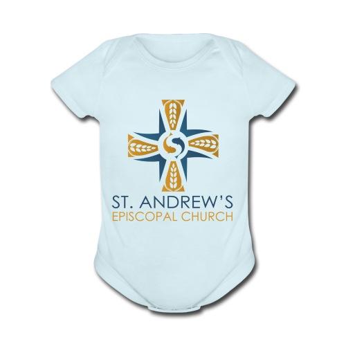 St. Andrew's logo on transparent background - Organic Short Sleeve Baby Bodysuit