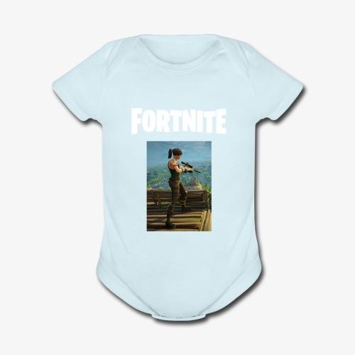 fortnite sniper tee - Organic Short Sleeve Baby Bodysuit