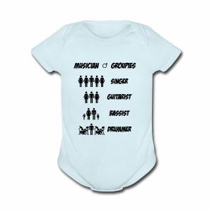 Male Musician Groupies Black Logo - Short Sleeve Baby Bodysuit
