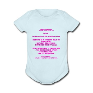 Proof for the Existence of God - Short Sleeve Baby Bodysuit