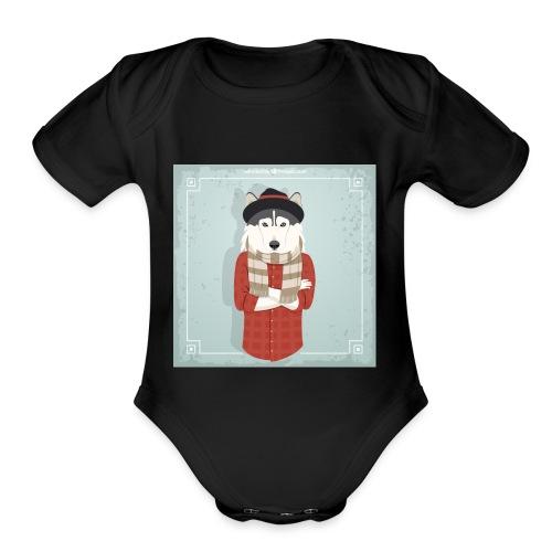 Hispter Dog - Organic Short Sleeve Baby Bodysuit