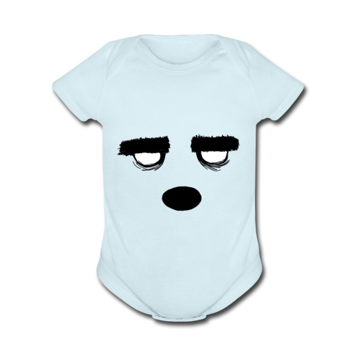 Women's Style Grumpy Bear Face - Organic Short Sleeve Baby Bodysuit