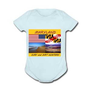 MARYLAND SURF AND DIRT HUNTERS group LOGO LARGE - Short Sleeve Baby Bodysuit
