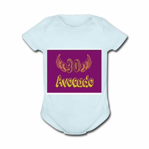 Thirdy Avocado logo - Organic Short Sleeve Baby Bodysuit