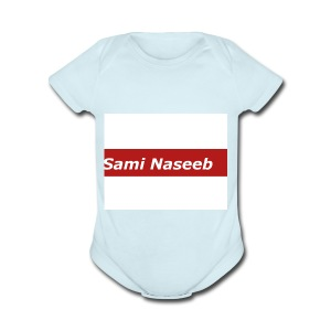 sami Naseeb red color texet - Short Sleeve Baby Bodysuit
