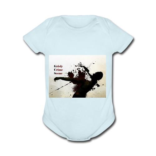 Grisly Crime Scene man shot - Organic Short Sleeve Baby Bodysuit