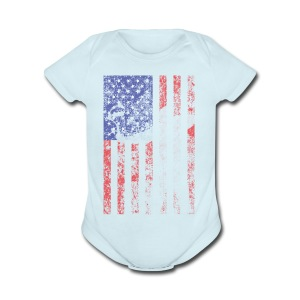 bow flag seperated2 - Short Sleeve Baby Bodysuit