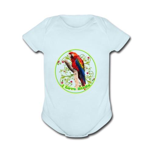 I Love Birds - Cool - Organic Short Sleeve Baby Bodysuit