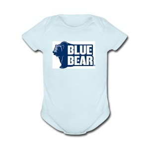 Blue Bear logo - Short Sleeve Baby Bodysuit