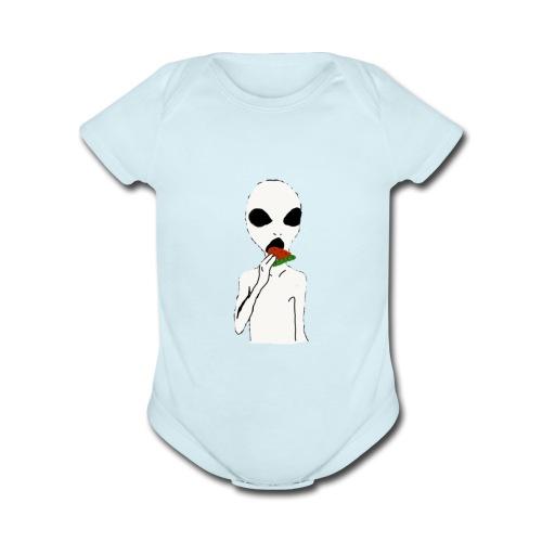 Hungry alien - Organic Short Sleeve Baby Bodysuit