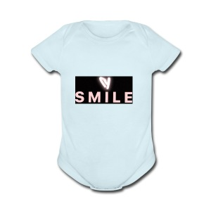 Happiness smile love bright cool good soft merch : - Short Sleeve Baby Bodysuit