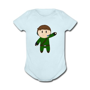 Waddles Chibi Version 2 White outline - Short Sleeve Baby Bodysuit