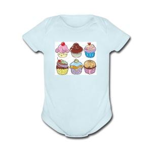 cupcakes - Short Sleeve Baby Bodysuit