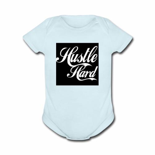 hustle hard - Organic Short Sleeve Baby Bodysuit