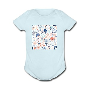 flowers - Short Sleeve Baby Bodysuit