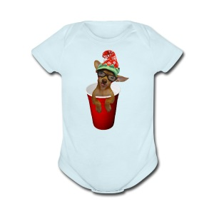 Pup in a cup Elf on the shelf who? lol - Short Sleeve Baby Bodysuit
