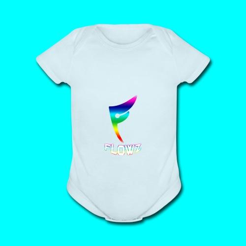 Multi-Colour Flowz Logo With Text - Organic Short Sleeve Baby Bodysuit