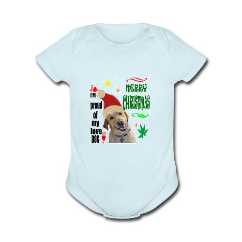 christmas with your dog - Organic Short Sleeve Baby Bodysuit