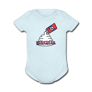 haircream cream logo - Short Sleeve Baby Bodysuit
