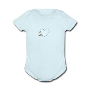 Siamese Love Cat Heart - Short Sleeve Baby Bodysuit