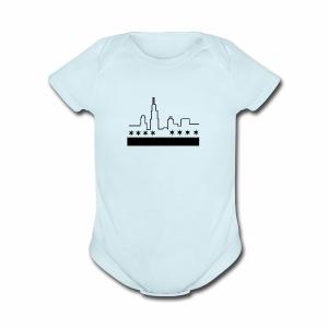 CHICAGO FLAG & SKYLINE - Short Sleeve Baby Bodysuit