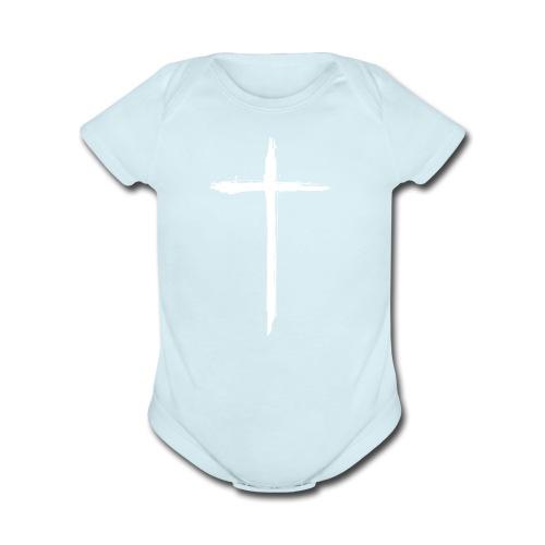 White Cross for Back of Shirt - Organic Short Sleeve Baby Bodysuit