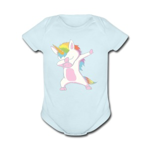 Unicorn cute dabbing T-Shirt Funny Dab Dance Gift - Short Sleeve Baby Bodysuit
