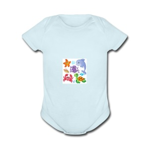 animales animados - Short Sleeve Baby Bodysuit