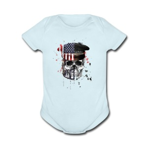 American Flag Military Cap Skull collection - Short Sleeve Baby Bodysuit